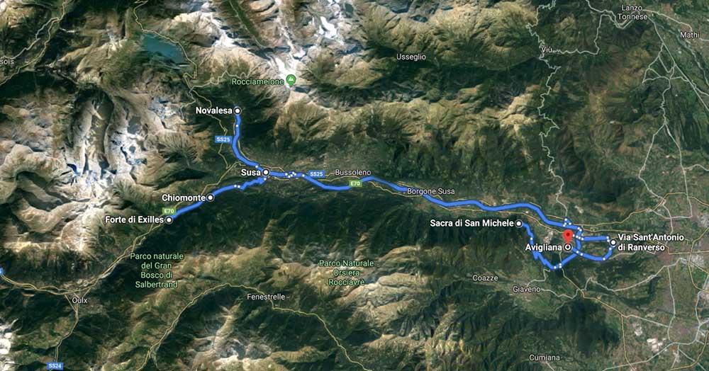 mappa itinerario susa