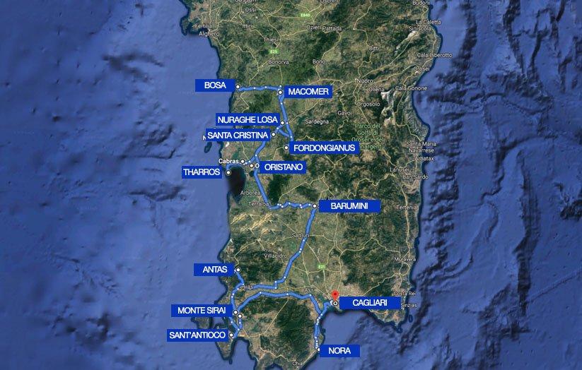 mappa sardegna viaggio di itinera
