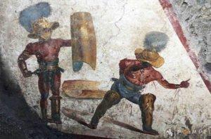 Pompei, l'affresco del Mirmillone e il Trace