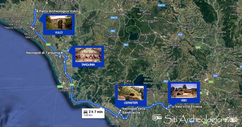 mappa itinerario necropoli etrusche in lazio