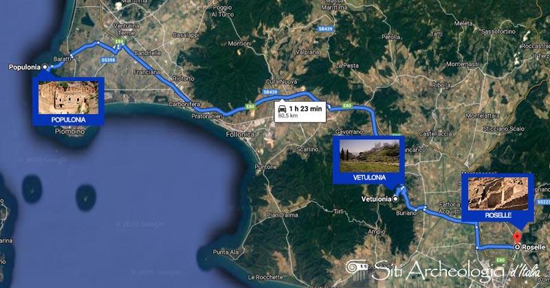 mappa satellitare dell'itinerario che porta alle tre città etrusche della toscana
