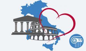 grafica italia con cuore e monumenti