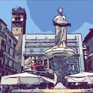 piazza delle erbe di Verona, vignetta
