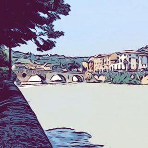 ponte di pietra Verona vignetta