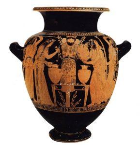 stamnos del pittore del Dinos, vaso attico
