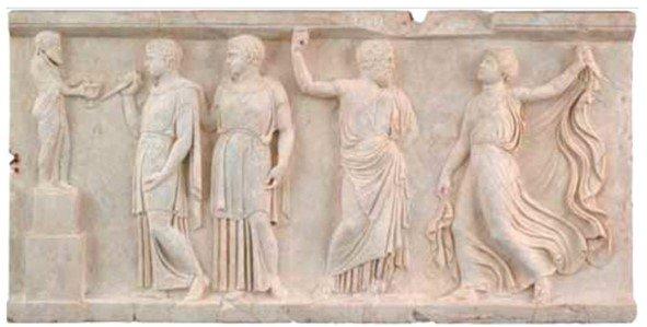 rilievo in marmo con scena dionisiaca di ercolano